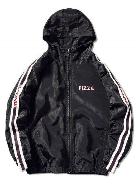 shop Contrast Trim Hooded Graphic Jacket - BLACK 2XL Mobile