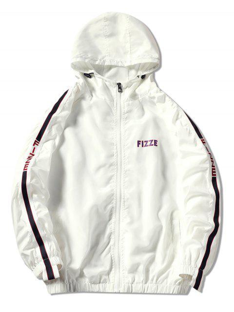 unique Contrast Trim Hooded Graphic Jacket - WHITE M Mobile