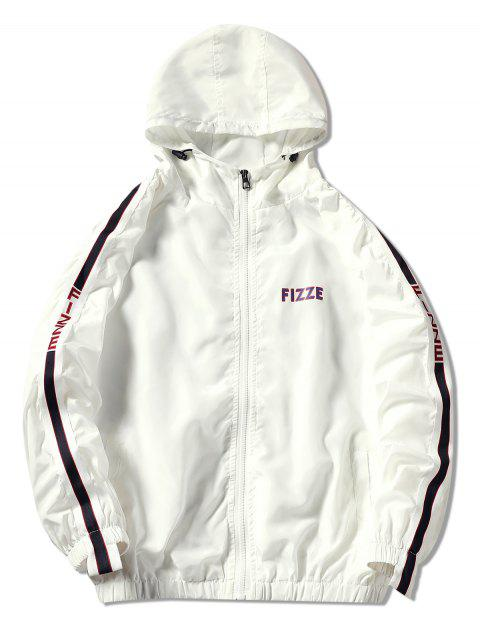 sale Contrast Trim Hooded Graphic Jacket - WHITE L Mobile