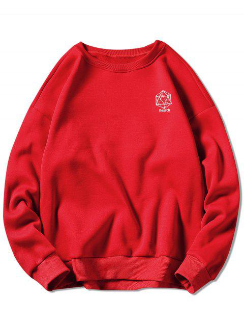 women Geometrical Embroidery Graphic Sweatshirt - RED XL Mobile