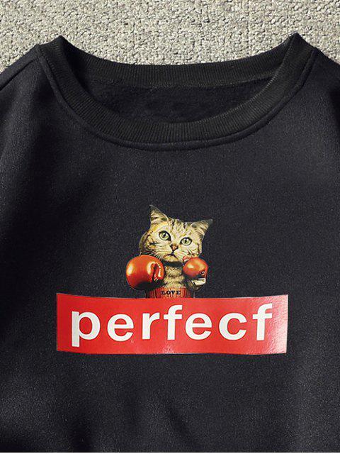 Sweat-shirt Lettre et Chat Imprimé à Goutte Epaule - Noir L Mobile