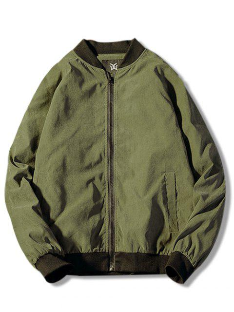 ladies Zip Up Back Patterned Jacket - ARMY GREEN M Mobile