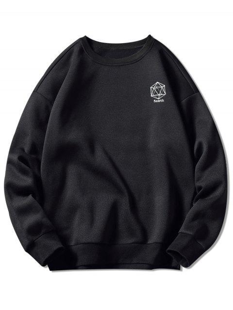 Geometrisches Stickerei-Grafik-Sweatshirt - Schwarz L Mobile