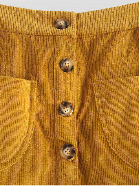 buy Pockets Corduroy A Line Skirt - ORANGE GOLD S Mobile