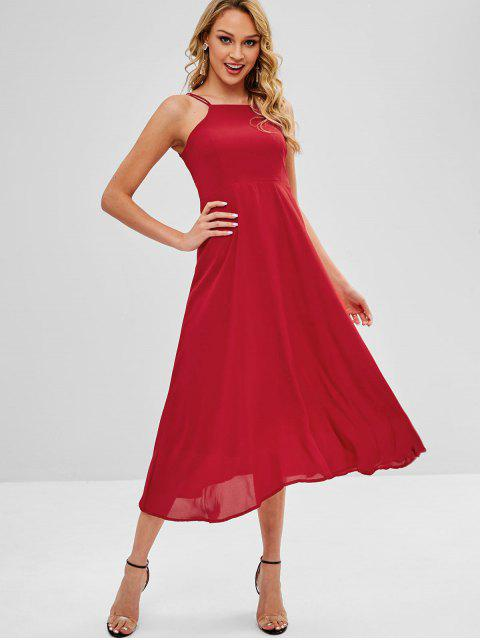 Vestido largo cruzado con tiras cruzadas - Rojo Lava L Mobile