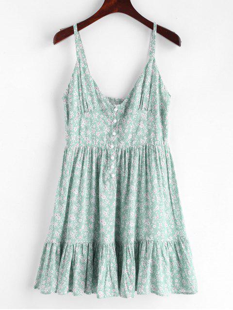 fashion ZAFUL Ruffles Half Buttoned Floral Dress - LIGHT AQUAMARINE L Mobile