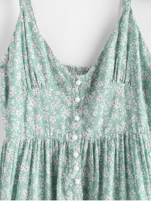 trendy ZAFUL Ruffles Half Buttoned Floral Dress - LIGHT AQUAMARINE S Mobile