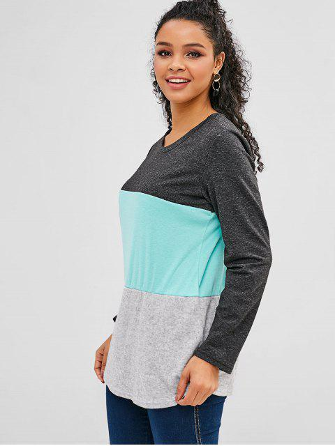 lady Brushed Paneled Tricolor Soft Tunic Tee - MULTI S Mobile