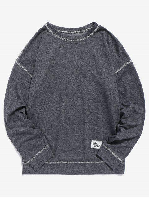 sale Contrast Flap Seam Sweatshirt - GRAY 2XL Mobile