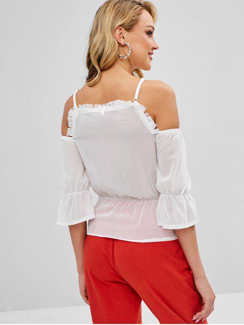 women's Crochet Applique Lace Up Chiffon Top - WHITE M Mobile
