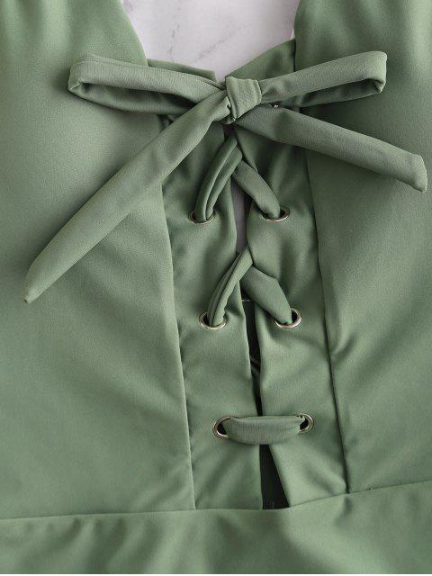 ZAFUL Lace Up traje de baño de cintura alta - Verde Marrón Claro S Mobile