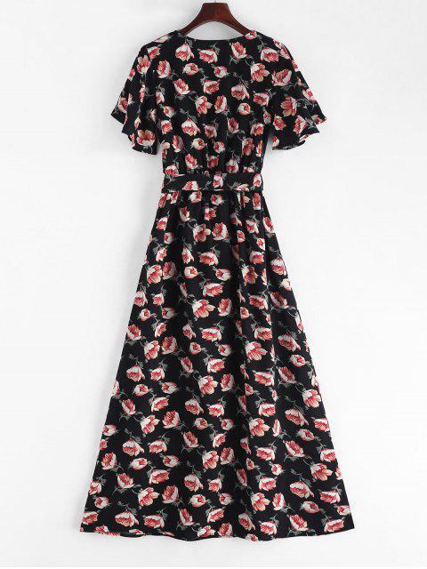 outfits Crossover Maxi Floral Tea Dress - BLACK S Mobile
