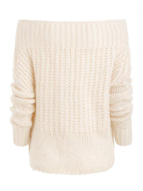 women's Off Shoulder Chunky Knit Sweater - WARM WHITE ONE SIZE Mobile