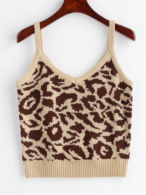 online Leopard Vest Sweater - LEOPARD ONE SIZE Mobile