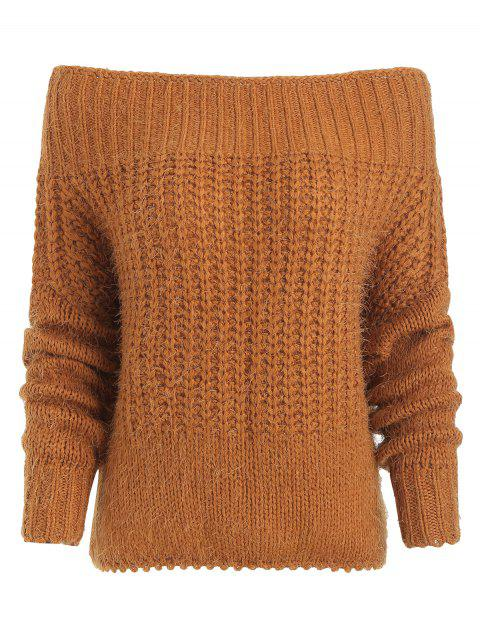 affordable Off Shoulder Chunky Knit Sweater - CARAMEL ONE SIZE Mobile