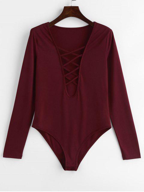 womens ZAFUL Plunge Long Sleeve Lattice Bodysuit - RED WINE S Mobile