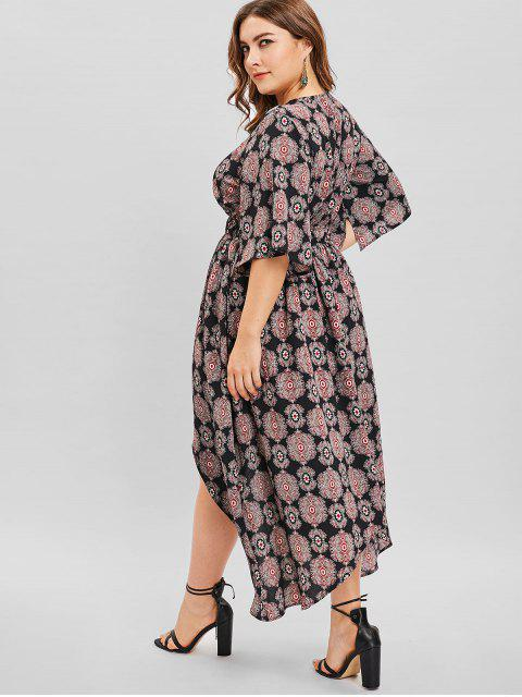 outfits ZAFUL Split Sleeve High Low Plus Size Print Dress - BLACK 1X Mobile