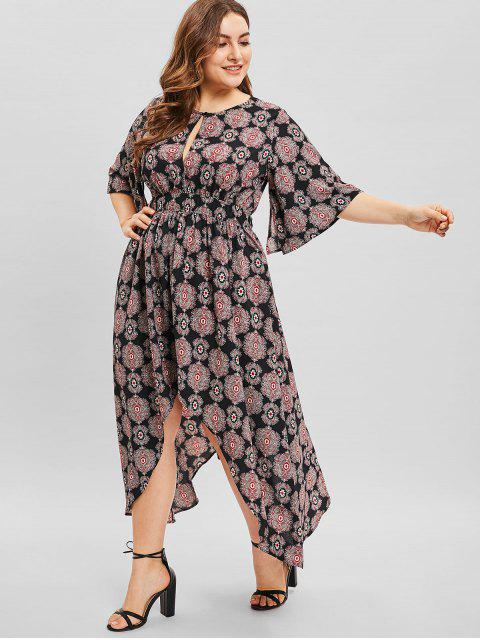affordable ZAFUL Split Sleeve High Low Plus Size Print Dress - BLACK L Mobile