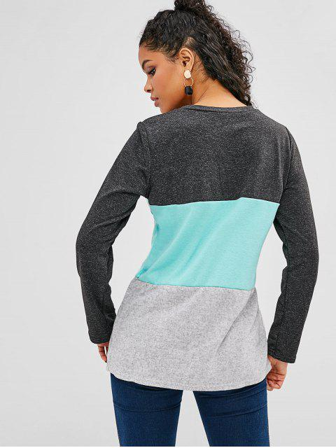 women's Brushed Paneled Tricolor Soft Tunic Tee - MULTI L Mobile