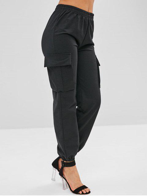 affordable Side Pockets Jogger Pants - BLACK ONE SIZE Mobile