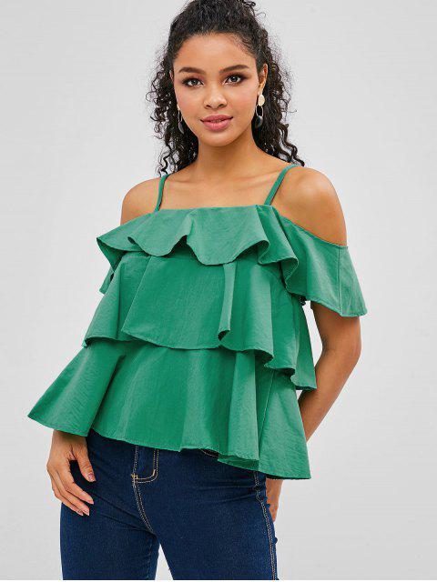 buy Ruffles Cold Shoulder Blouse - GREEN XL Mobile
