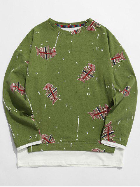latest Fishbone Print False Two Piece Sweatshirt - GREEN 3XL Mobile