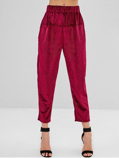 Pantalones de pana de cintura alta con bolsillos - Marrón L Mobile
