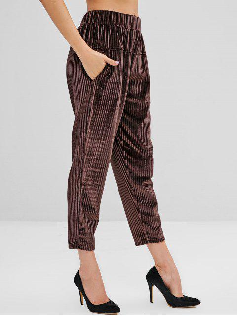 Pantalones de pana de cintura alta con bolsillos - Café XL Mobile