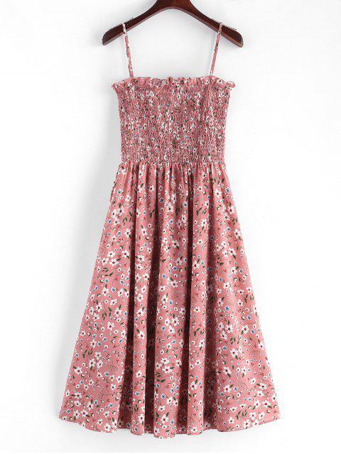 ladies ZAFUL Smocked Floral Print Cami Dress - PINK S Mobile