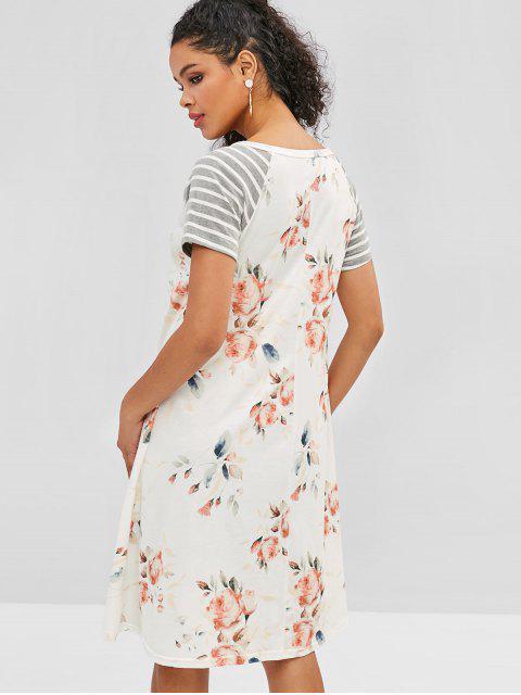 Vestido túnica con estampado floral de rayas - Blanco S Mobile