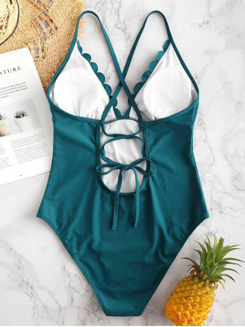 latest ZAFUL Scalloped Lace Up Backless Swimsuit - PEACOCK BLUE L Mobile