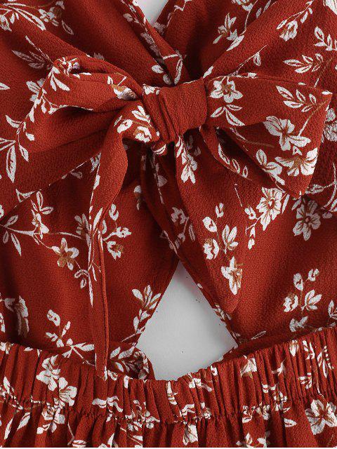 fancy Floral Cut Out Twist Romper - CHESTNUT RED L Mobile