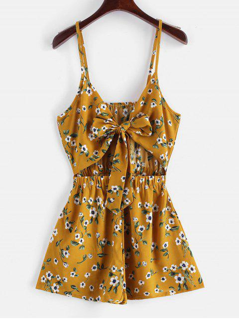 fashion ZAFUL Floral Print Tie Front Cami Romper - BEE YELLOW S Mobile