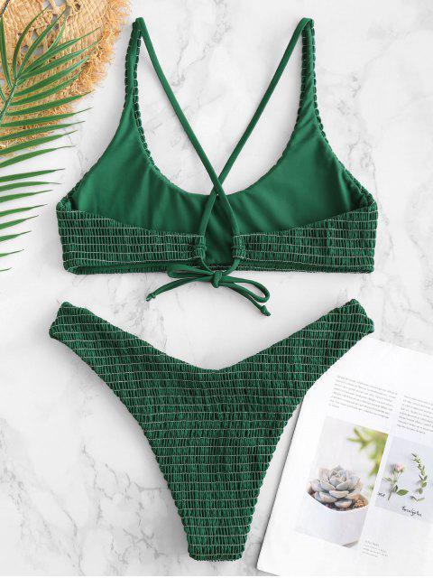 ZAFUL Smocked Criss Cross Bikini Set - Verde Médio do Mar S Mobile