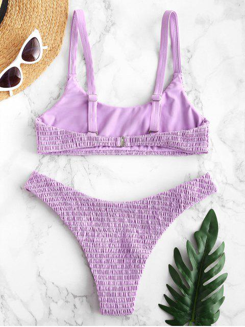 sale ZAFUL Smocked Bralette Bikini Set - MAUVE L Mobile