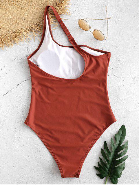 ZAFUL Traje de baño de una sola pieza de un hombro - Castaño Rojo L Mobile
