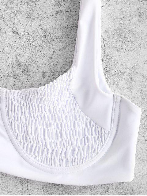 hot ZAFUL Underwire Smocked Bikini Set - WHITE S Mobile