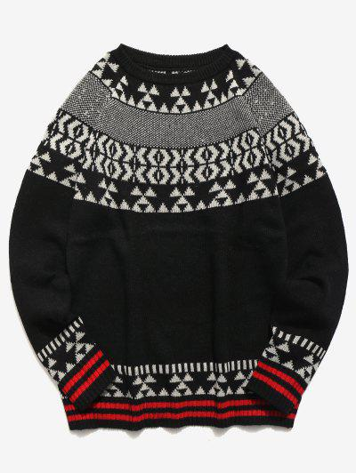 db8c2d10ae4d9 Geometric Pattern Knit Pullover Sweater - Black M ...