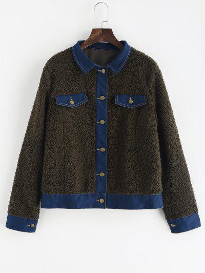 Faux Pockets Faux Fur Jacket - Army Green M