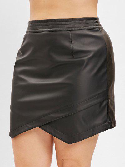 6f345619a ... Zaful Plus Size Faux Leather Mini Saia - Preto 3x