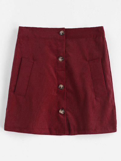 Buttoned Plain Corduroy Skirt