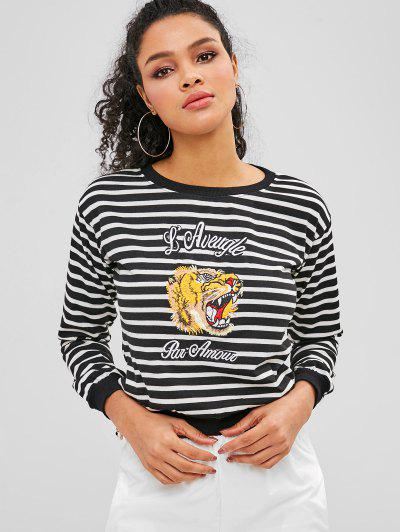 Striped Tiger Embroidered Top