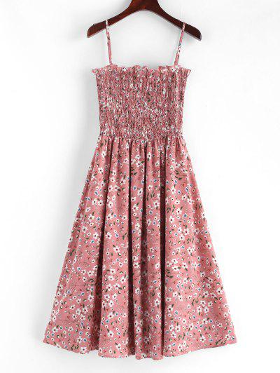 0c16afa395c1f ZAFUL Smocked Floral Print Cami Dress - Pink S ...