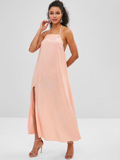 0fcbf0288540 ... Split Hem Backless Halter Maxi Dress - Orange Pink L