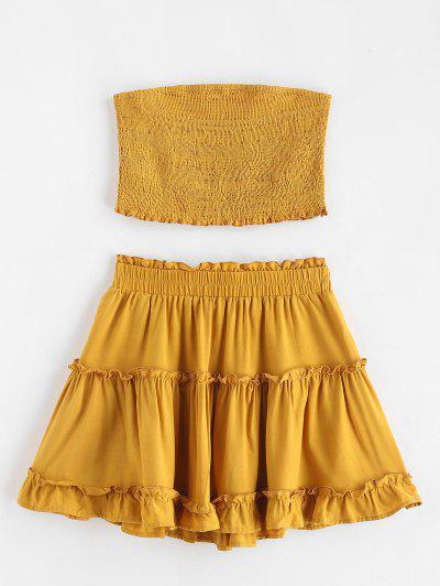 ZAFUL Smocked Bandeau Top And Skirt Set - Orange Gold S ... dd8a6152b