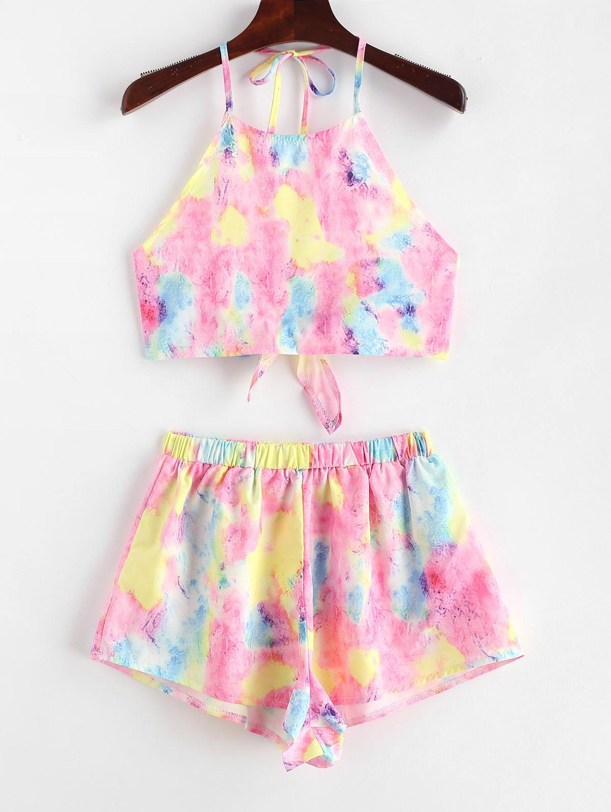 Tie Dye Crop Top and Shorts Two Piece Set