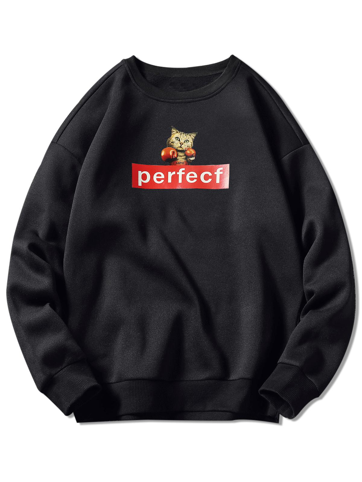 Cat and Letter Print Drop Shoulder Sweatshirt
