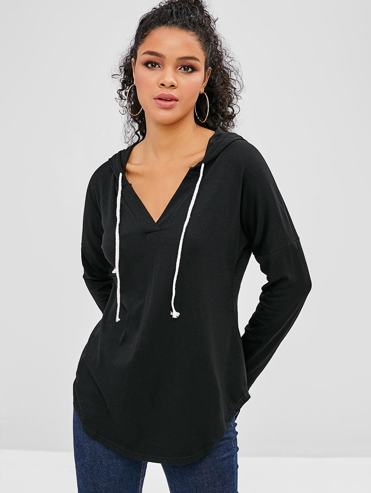 Drawstring Drop Shoulder Curved Hem Hoodie