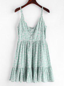 ZAFUL الكشكشة نصف زرر فستان زهري - ضوء الزبرجد S