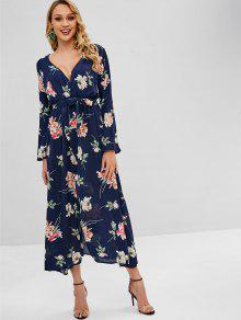66ecf008a113 34% OFF] 2019 Floral Long Sleeve Surplice Maxi Dress In MIDNIGHT ...